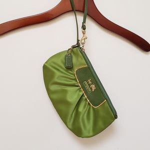 Coach green satin purse